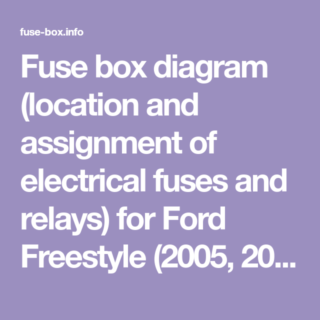 Fuse Box Diagram Location And Assignment Of Electrical Fuses And Relays For Ford Freestyle 2005 2006 2007 Fuse Box Electrical Fuse Fuse Panel
