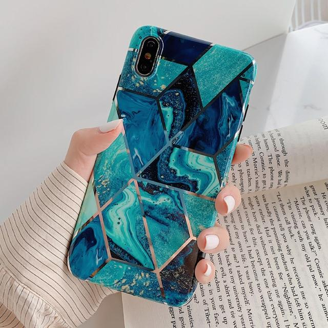 Lack Luxury Plating Line Geometric Marble Phone Case For Iphone X Xs Max Xr 6 6s 7 8plus Colorful Textu Phone Cases Marble Black Marble Iphone Case Marble Case