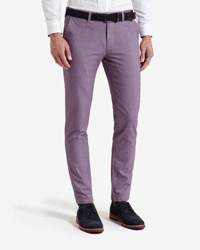 Slim fit cotton twill pants - Purple | Pants & Jeans | Ted Baker ...