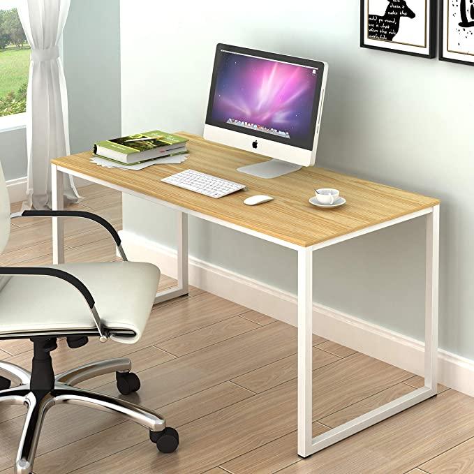 Amazon Com Shw Home Office 48 Inch Computer Desk White Oak Kitchen Dining Home Office Computer Desk Home Studio Desk Home Office Furniture