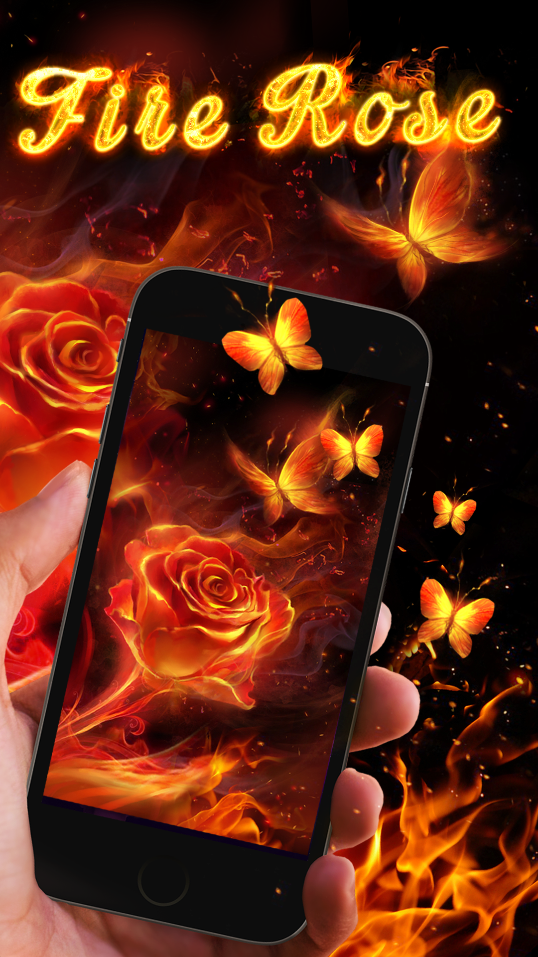 Fiery rose and butterflies! Live wallpapers, Wallpaper, Rose