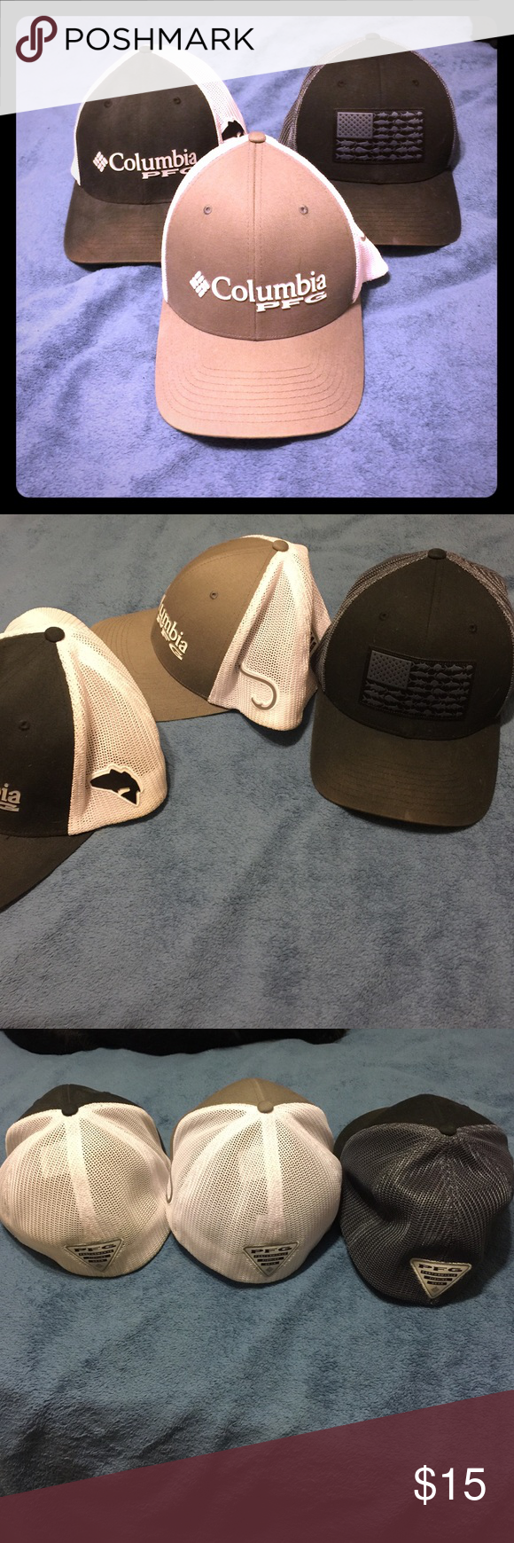 Bundle of columbia pfg hats the grey white hats and the for Columbia fishing hat