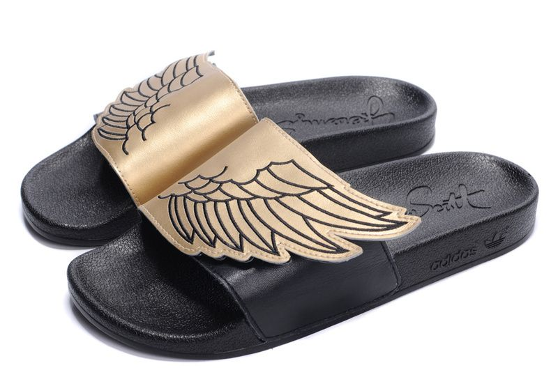 sports shoes 59006 18dc3 Jeremy Scott s Gold Wings Adilette Sandals by Adidas   Hot Fashion Men    Pinterest   Adidas and Sandals