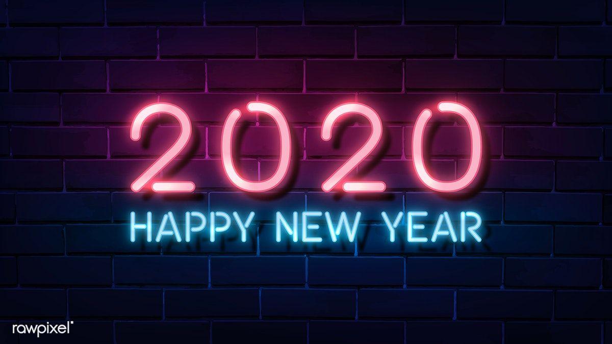 Download Premium Vector Of Neon Pink Happy New Year 2020 Wallpaper Vector Happy New Year Wallpaper New Year Images Happy New Year Images