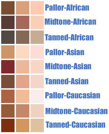 Skin Tone Colour Pallette