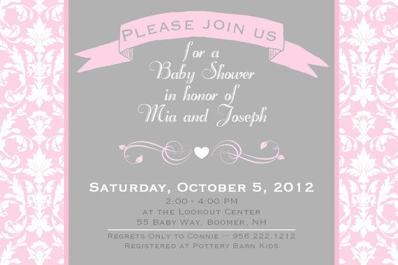 Amazing Baby Shower Invitation Damask Pink Gray By AsYouWishCreations4u