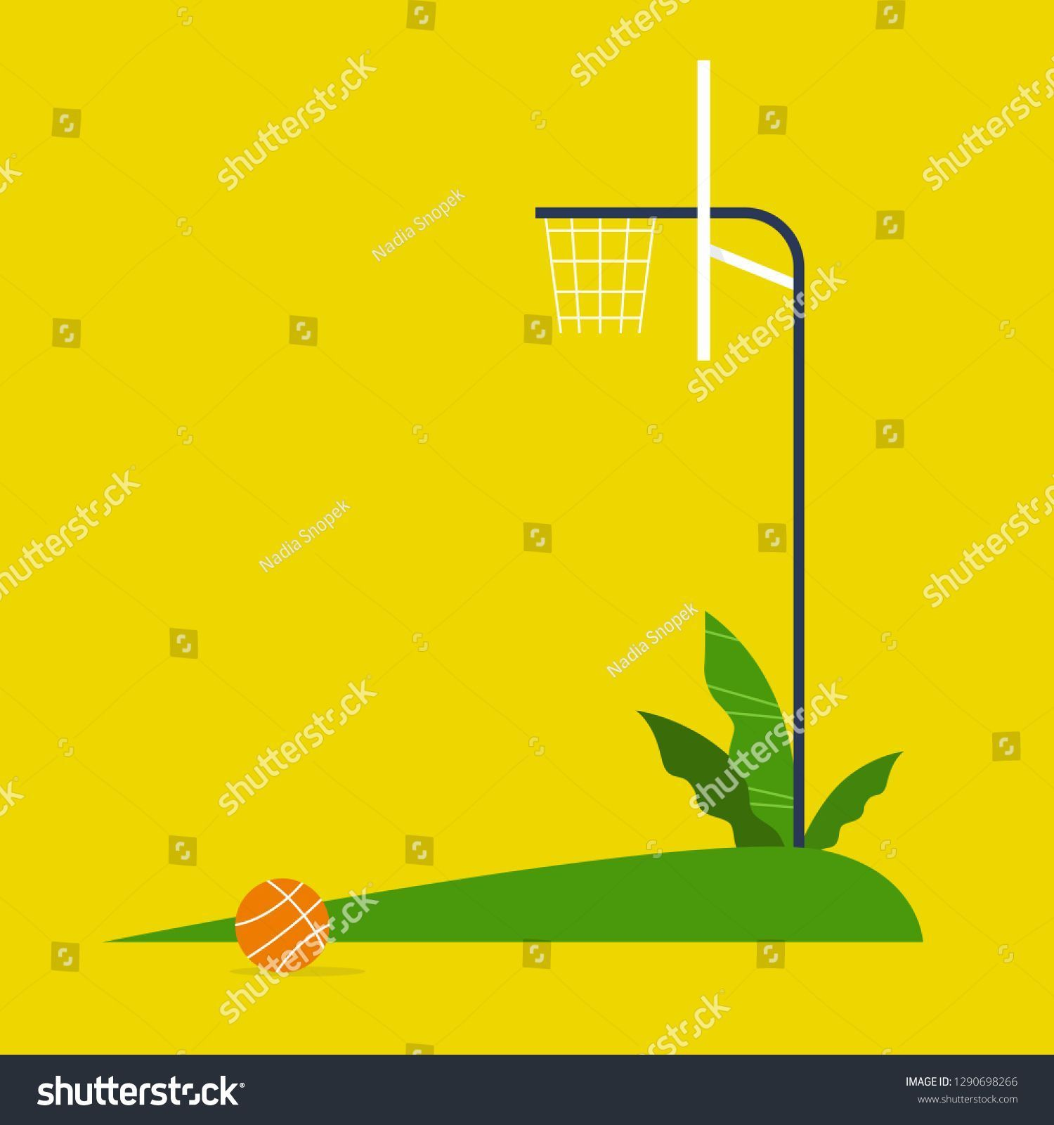 Outdoor Basketball Court No People Copy Space Side View Flat Editable Vector Basket In 2020 Outdoor Basketball Court Basketball Court Home Basketball Court