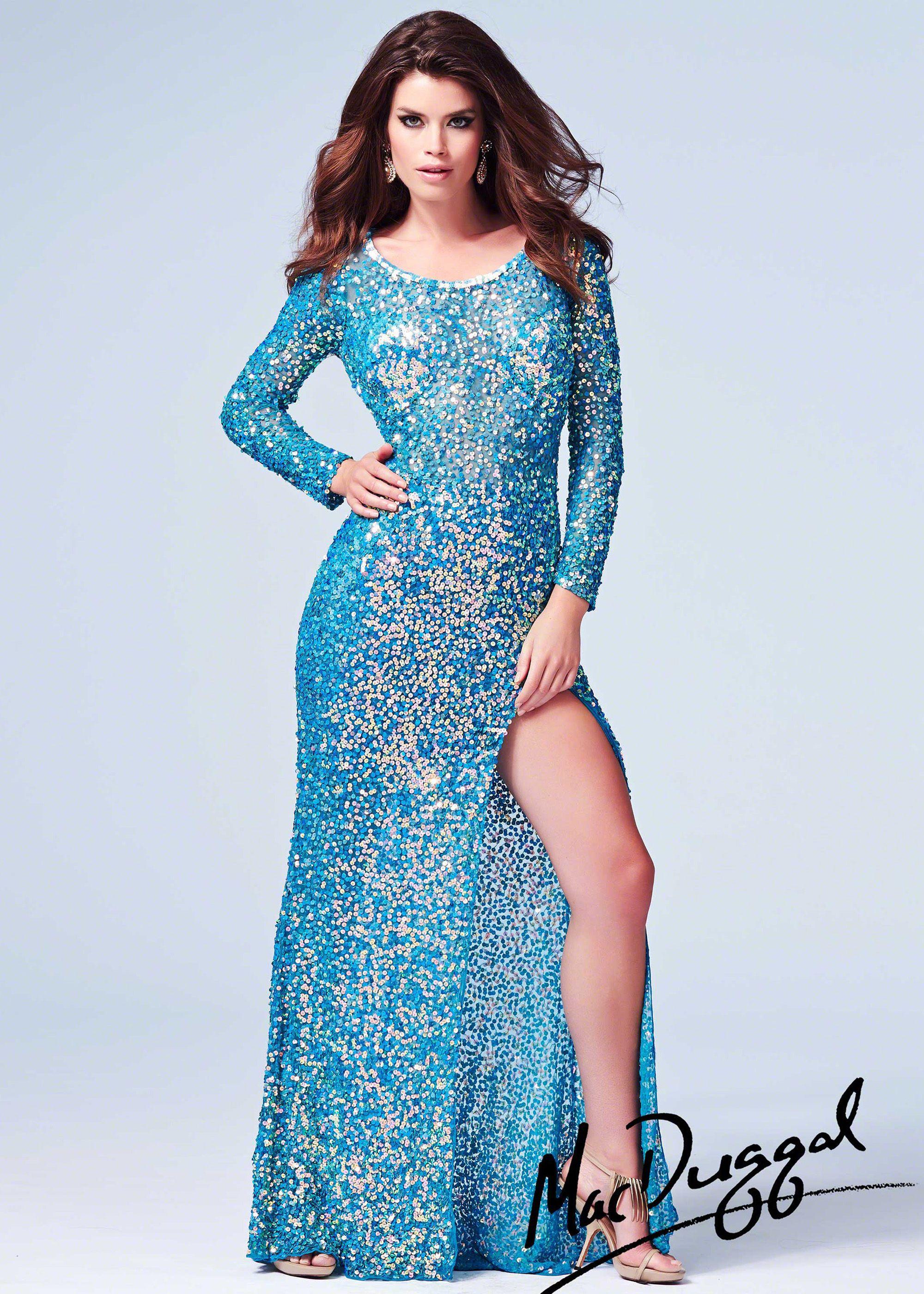 Mac Duggal 3908A - Peacock Beaded Sheer Long Sleeve Prom Dresses ...