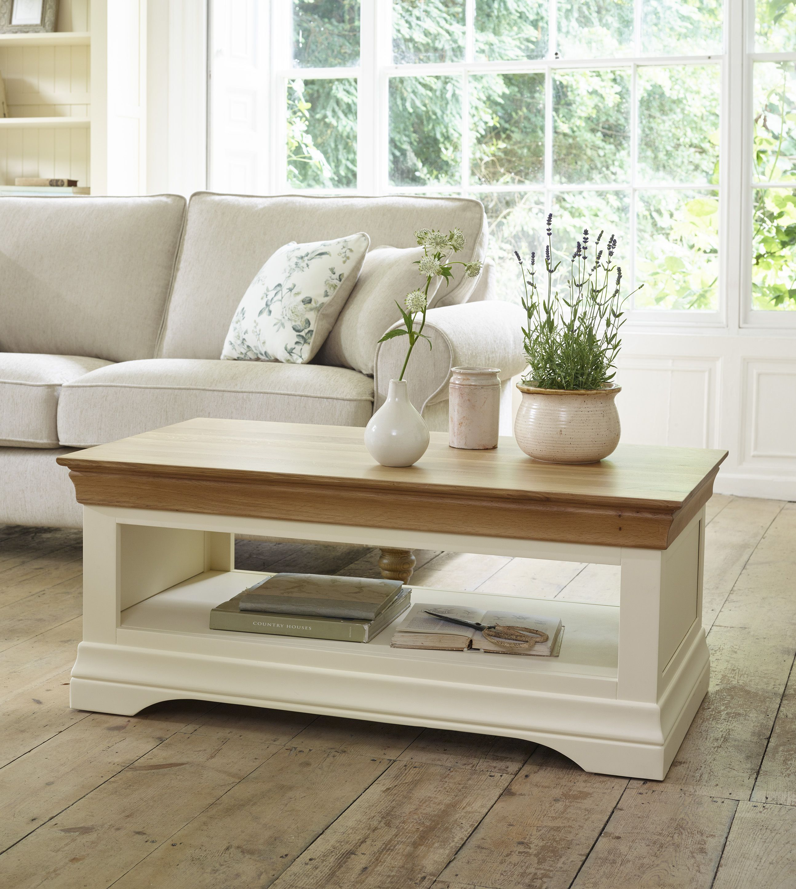 The Country Cottage Natural Oak And Painted Coffee Table