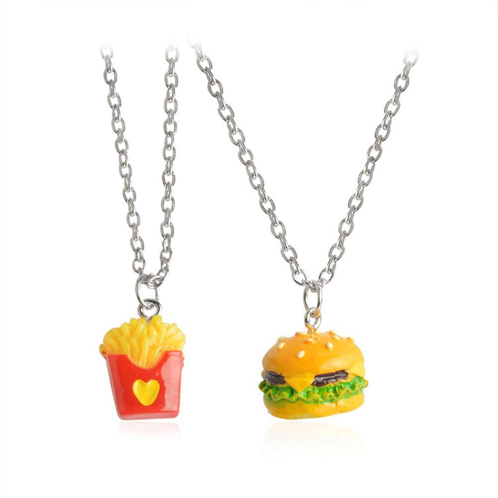 Pcspcsset bff best friend forever hamburgers pendant necklaces
