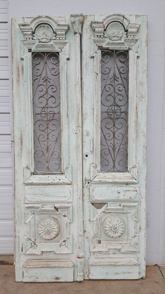 Pair of Painted Doors with Iron Inserts