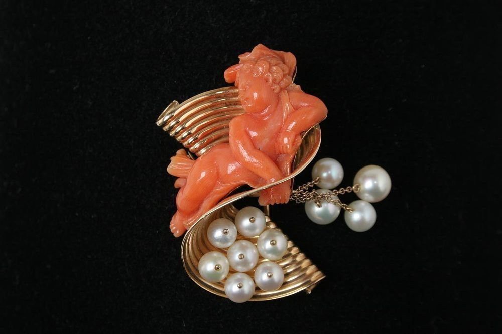 Vintage 14k Gold Carved Coral Cherub Pearl Pin Brooch Estate Jewelry