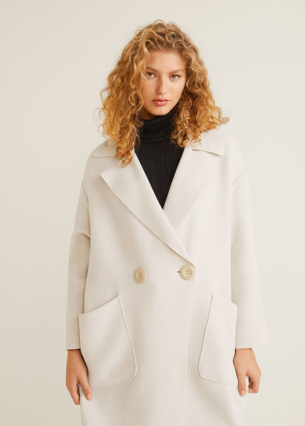 Unstructured virgin wool coat Women | Mango USA