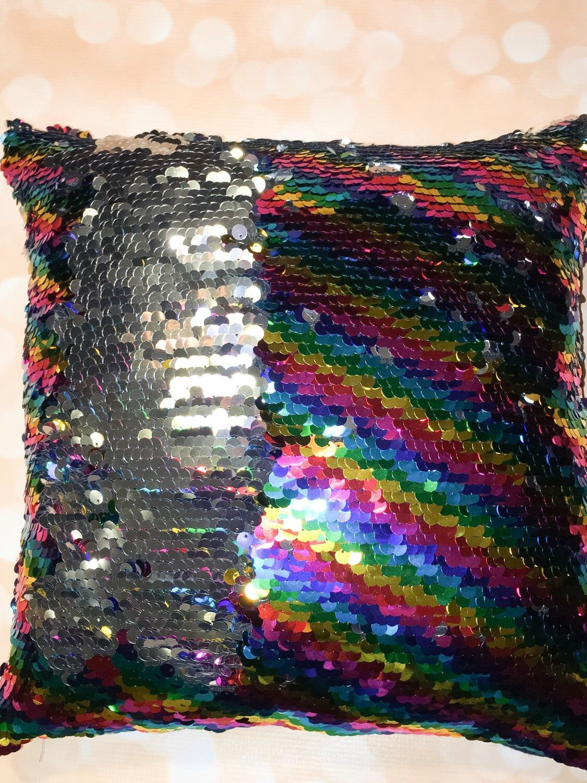 mermaid pillow rainbow reversible