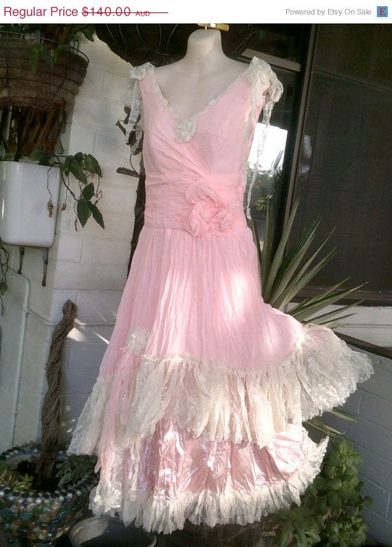"""20% OFF vintage inspired shabby bohemian chiffon and lace dress ...XXSMALL to SMALL to 32"""" bust and up to 28"""" waist"""