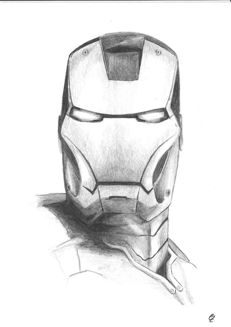 Iron man black and white sketch