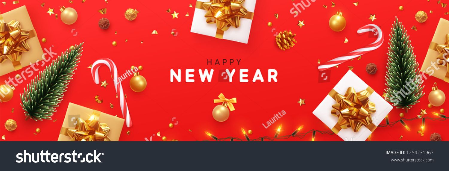 Happy New Year Banner Xmas Sparkling Lights Garland With Gifts Box And Golden Tinsel Horizontal Christ Happy New Year Banner Christmas Poster New Year Banner