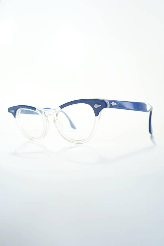 c237449330 Vintage 1950s Tart Cat Eye Leading Liz Glasses Blue Clear Transparent  Cateye Eyeglasses 50s Mid Century Modern Arnel Johnny Depp