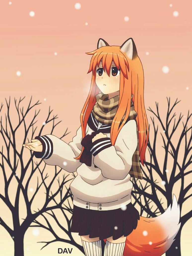 Orange hair kitsune fox girl Dav19 art 絵, 獣 耳
