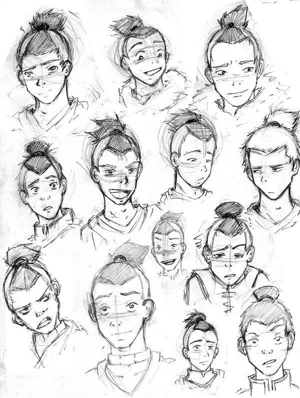 Sokka many faces and styles by sikicool jpg 600x795
