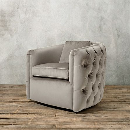 Lauder 39 Tufted Upholstered Swivel Chair In Arabella Ash Comfy Bedroom Chair Upholstered Swivel Chairs Living Room Chairs