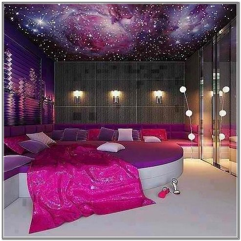 Exceptional Charming Purple Bedroom Ideas: Charming Purple Bedroom Ideas With White And  Purple Bed And Luxurious Chandelier And White Floors