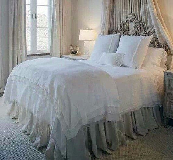 Extra long gathered bed skirt Queen by HumbleHomeDesign on Etsy