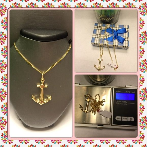 18k real saudi gold anchor necklace made of 18k real gold with 750 real saudi gold anchor necklace made of real gold with 750 stamped 18 inches long chain with anchor pendant aloadofball Choice Image