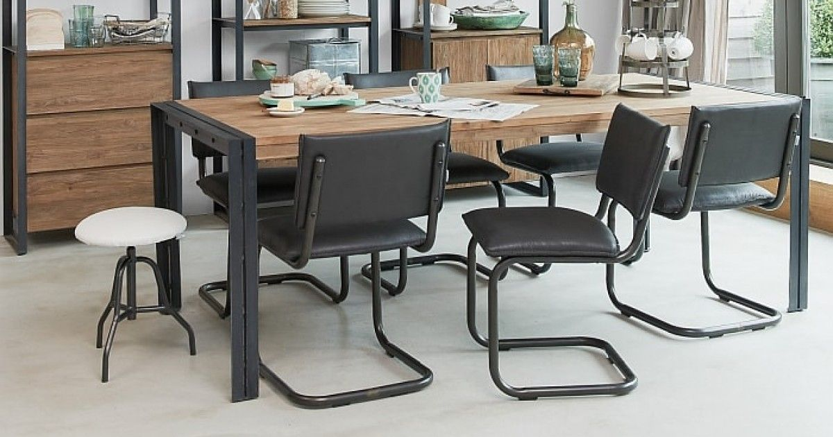 The Fendy Is A Popular Industrial Rustic Dining Table Crafted From