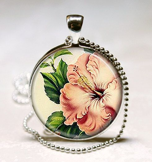 Pink Hibiscus Necklace Tropical Flower Jewelry Hawaii Hawaiian