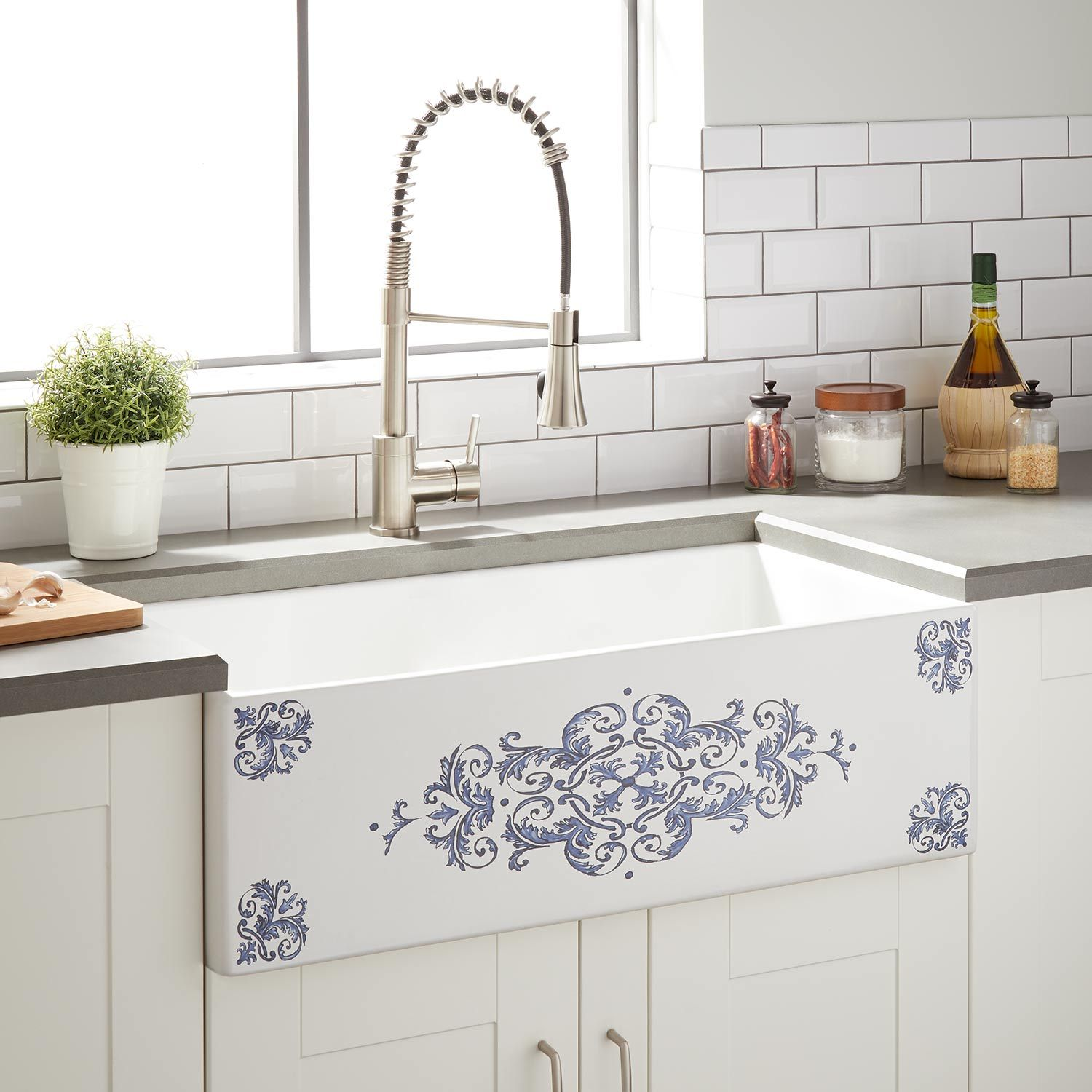 Featuring Elaborate Detailing The Bruno Fireclay Farmhouse Sink