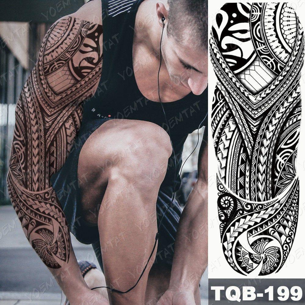Temporary tattoo sleeve fake tattoo sleeve Polynesian