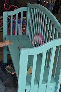 Baby crib turned bench. Great idea!