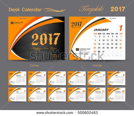 set Orange Desk Calendar 2017 template design, cover design