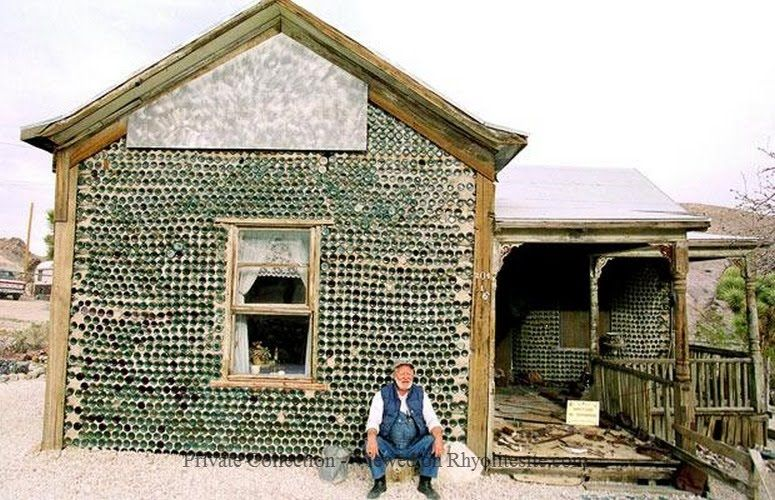 In The Desert Old Man Kelly And His Rhyolite Bottle House Crazy Houses Bottle House Horror House