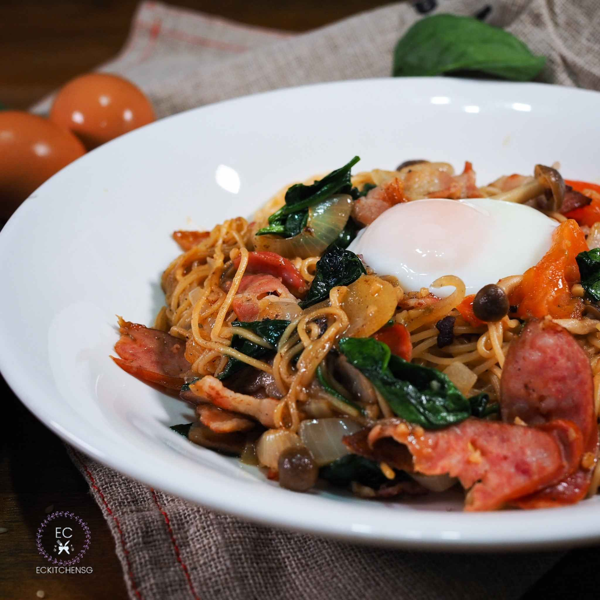 Japanese Style Spaghetti Inspired By Miam Miam Eckitchensg Vegetable Recipes Cooking Recipes Fusion Food