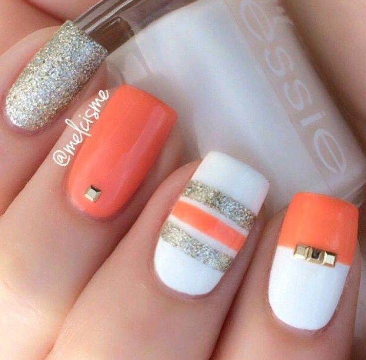 Orange White Nails Striped Nails Nail Designs Simple Nail Art Designs