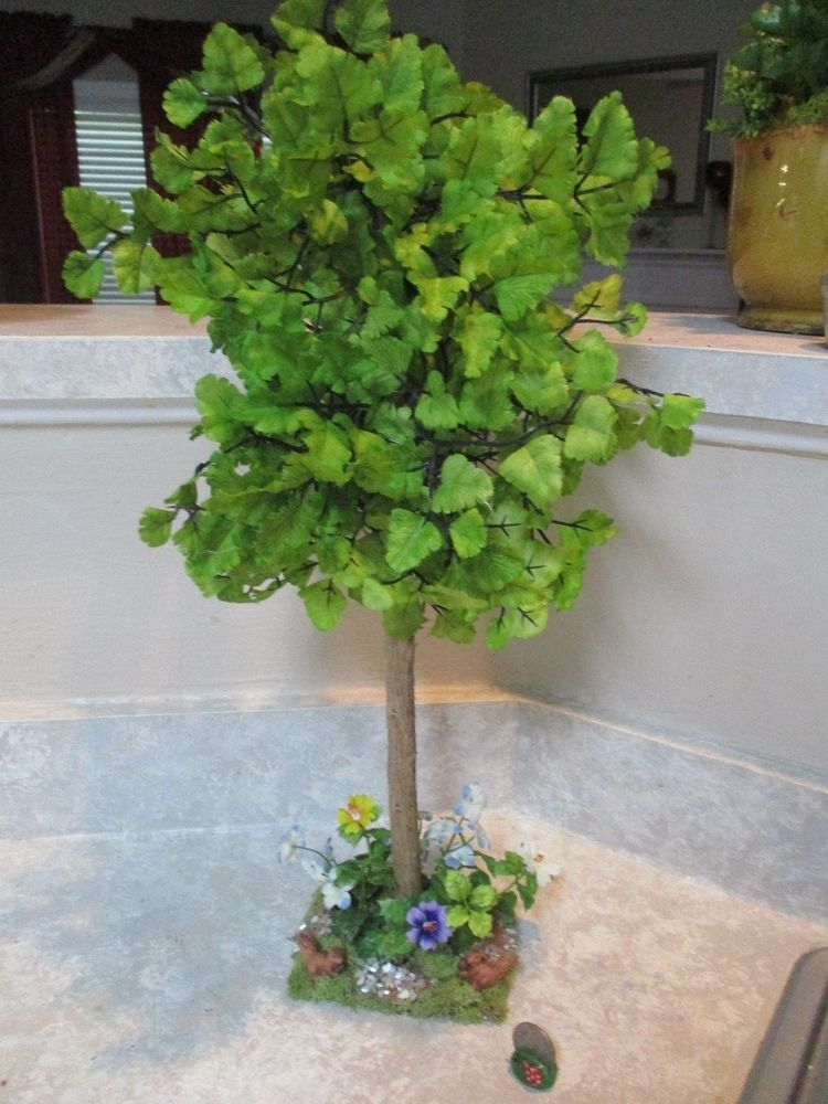 Ooak 18h Miniature Large Dolldollhousediorama Silk Oak Tree