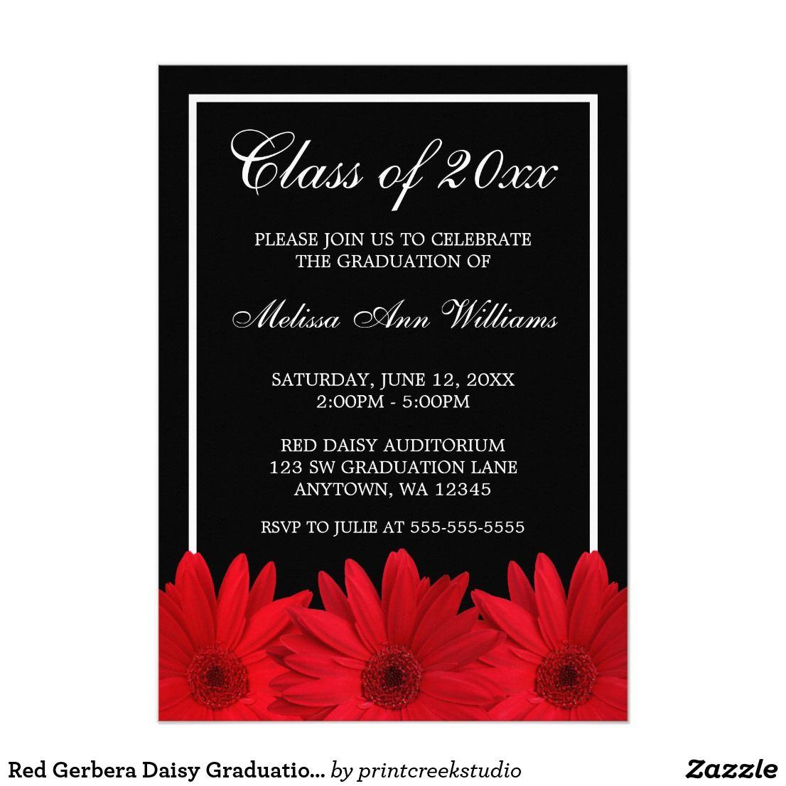 Red Gerbera Daisy Graduation Announcement | Pinterest