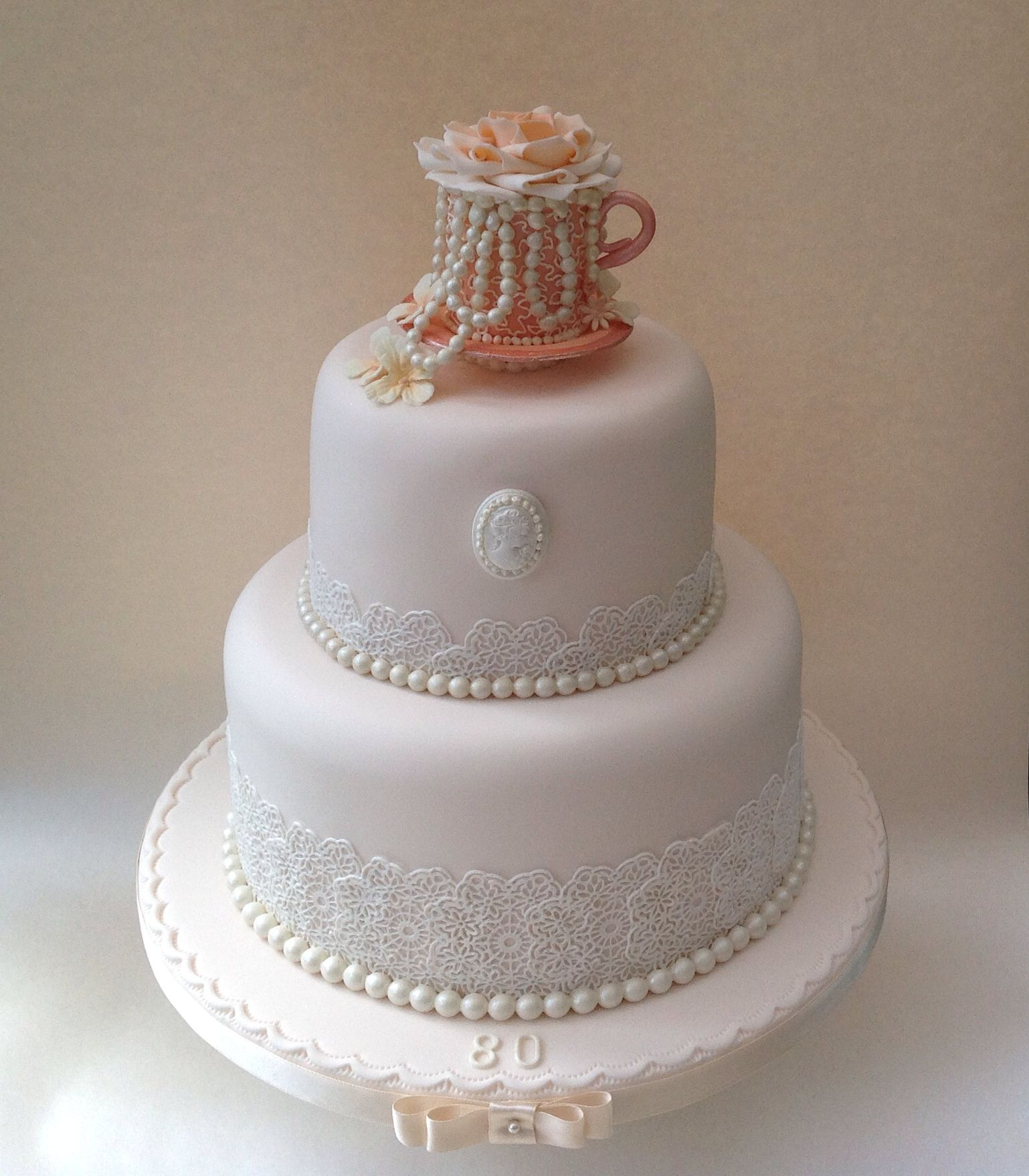 Vintage Lace Pearls And Teacup 80th Birthday Cake