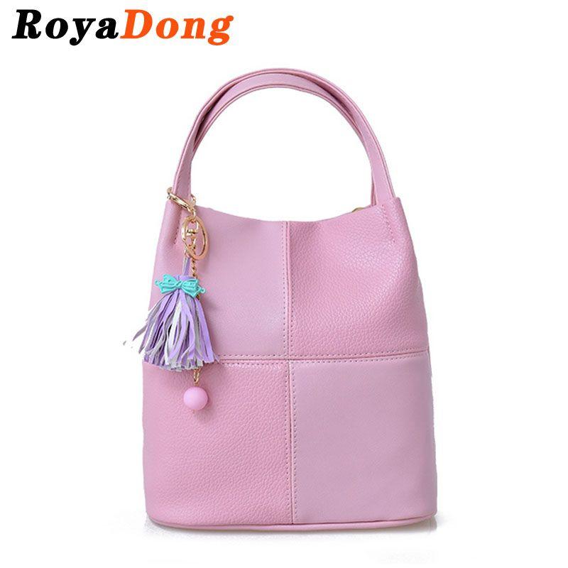 RoyaDong 2017 Women Leather Handbags Light Pink Bag Ladies ...