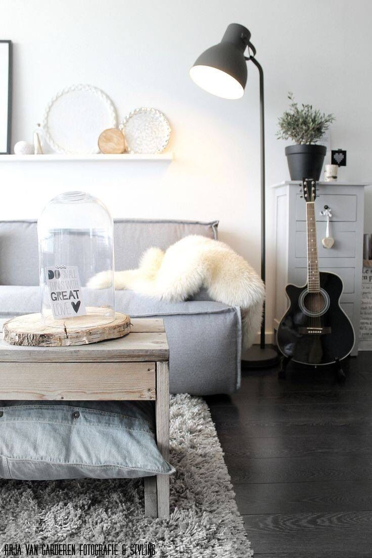 Beautiful serene lounge. Grey and white details. Fur throw and ...