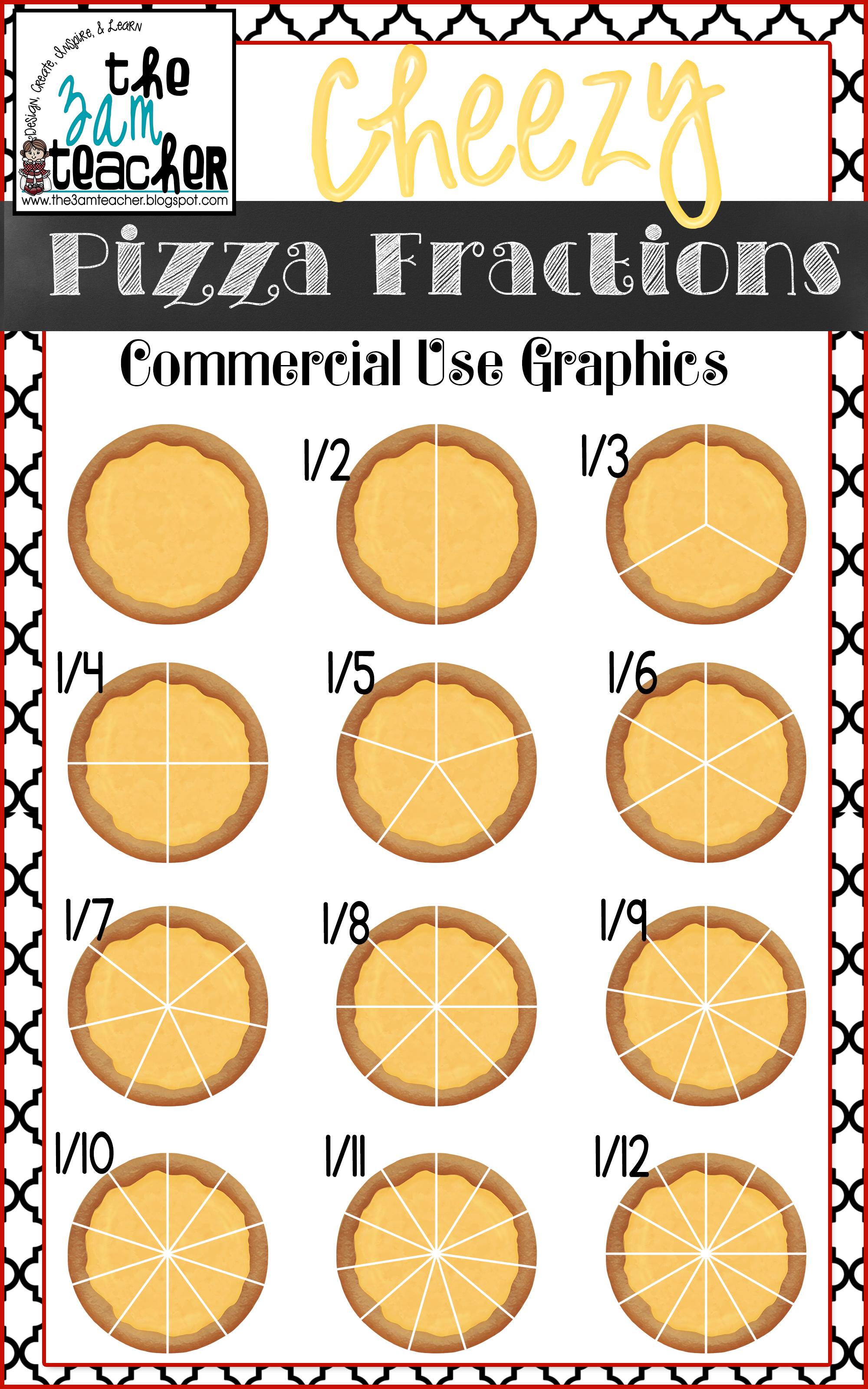 Cheesy Pizza Fractions Mega Clipart Set – Pizza Fractions Worksheet