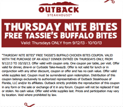 Https Www Facebook Com Outbackcoupons Ref Hloutback Coupon Thursday Nite Bites Print Coupon And Receive Free Tassie Outback Steakhouse Print Coupons Outback