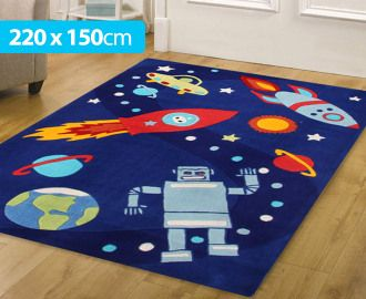 Creative Kids 220 X 150cm Space Rug   Blue For Space Or Robot Themed  Nursery Or
