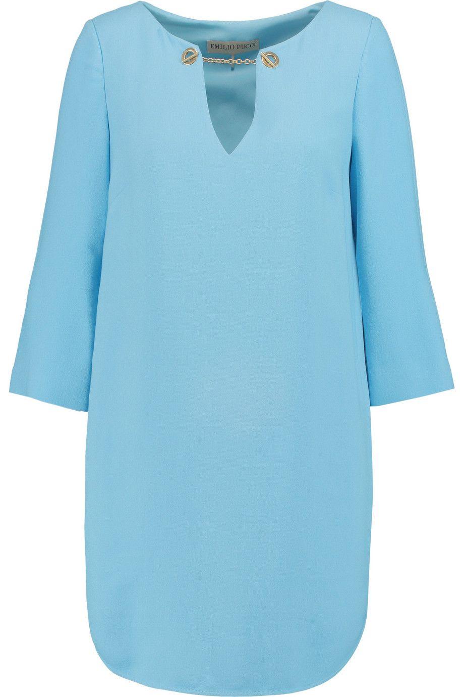 EMILIO PUCCI Chain-Trimmed Stretch-Crepe Mini Dress. #emiliopucci #cloth #dress