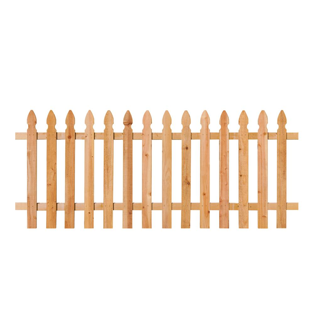 3 1 2 Ft X 8 Ft Cedar Spaced French Gothic Fence Panel 318736 The Home Depot Fence Panels Cedar Fence Outdoor Essentials