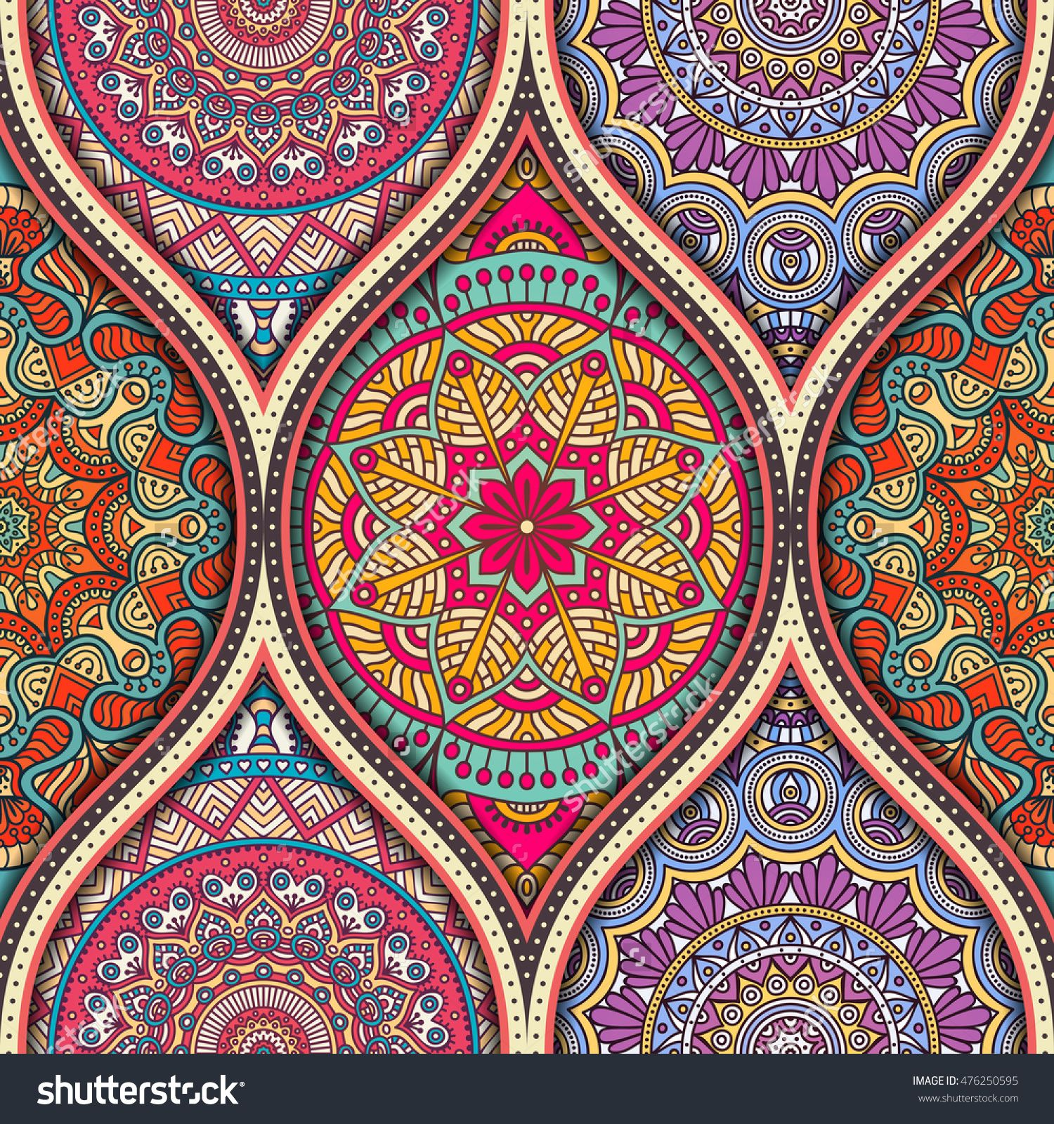 Tiles Decor Seamless Pattern Tile With Mandalasvintage Decorative Elements