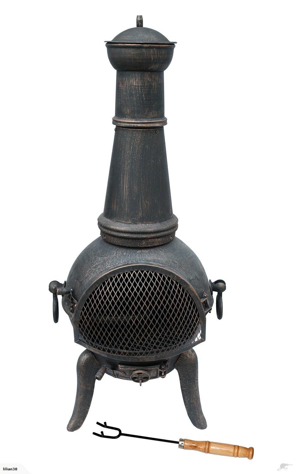 Cast Iron Chiminea Outdoor Patio Yard Fire Pit firewood Burnning W// log holder