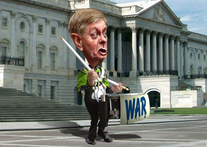 Lindsey Olin Graham, aka Lindsey Graham, is a Republican Senator from South Carolina.  This caricature of Lindsey Graham was adapted a photo in the public domain from a Defense Department website. Graham's body was adapted from a Creative Commons licensed photo from Ed Uthman's Flickr photostream. The background was adapted from a Creative Commons licensed photo from Matt Churchill's Flickr photostream.